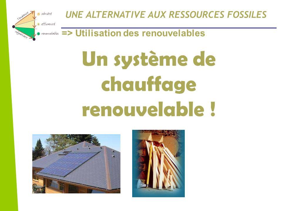 UNE ALTERNATIVE AUX RESSOURCES FOSSILES Un système de chauffage renouvelable ! => Utilisation des renouvelables