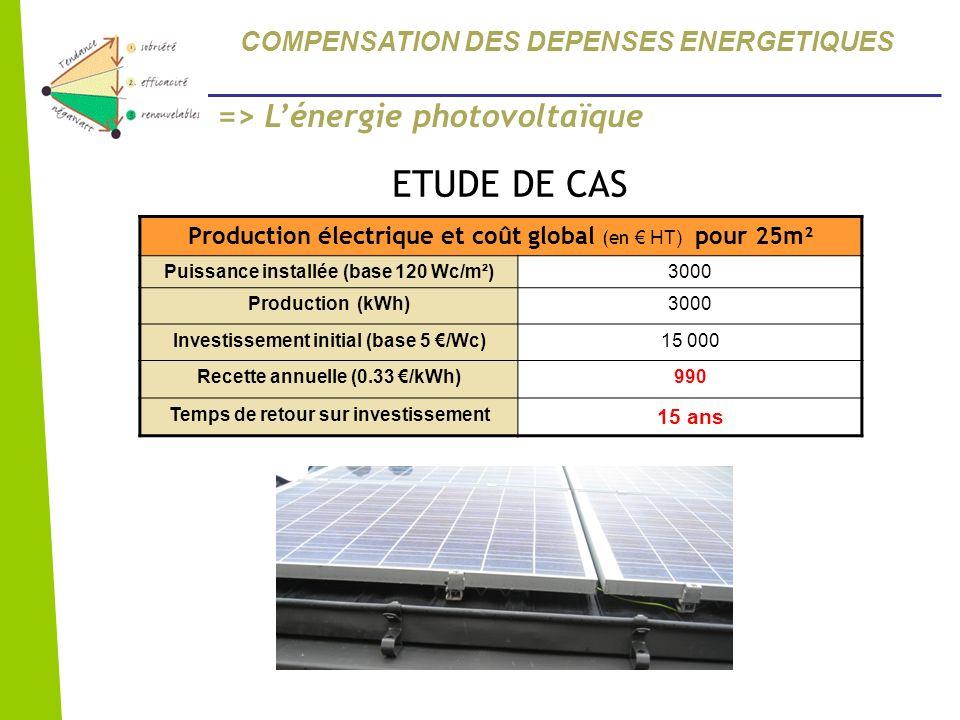Production électrique et coût global (en HT) pour 25m² Puissance installée (base 120 Wc/m²)3000 Production (kWh)3000 Investissement initial (base 5 /W