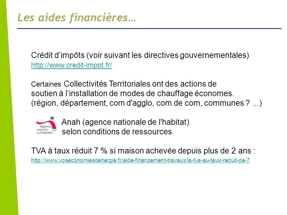Crédit dimpôts (voir suivant les directives gouvernementales) http://www.credit-impot.fr/ Certaines Collectivités Territoriales ont des actions de sou