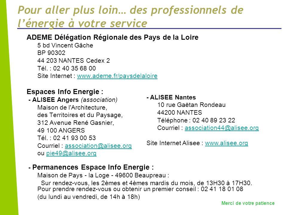 Pour aller plus loin… des professionnels de lénergie à votre service ADEME Délégation Régionale des Pays de la Loire 5 bd Vincent Gâche BP 90302 44 20