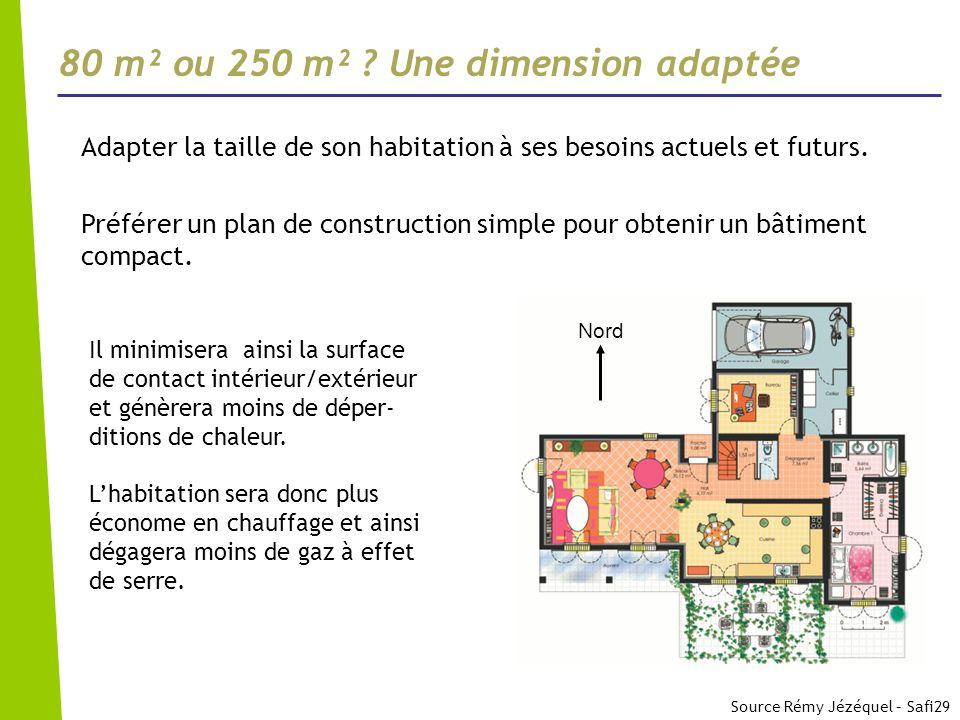 80 m² ou 250 m² ? Une dimension adaptée Adapter la taille de son habitation à ses besoins actuels et futurs. Préférer un plan de construction simple p