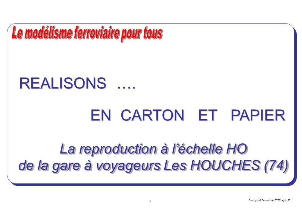 Copyright Bernard VALETTE – juin 2011 1 EN CARTON ET PAPIER REALISONS …. La reproduction à léchelle HO de la gare à voyageurs Les HOUCHES (74)