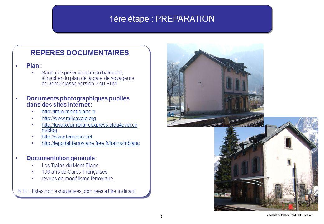 Copyright Bernard VALETTE – juin 2011 3 REPERES DOCUMENTAIRES N.B. : listes non exhaustives, données à titre indicatif 1ère étape : PREPARATION Plan :