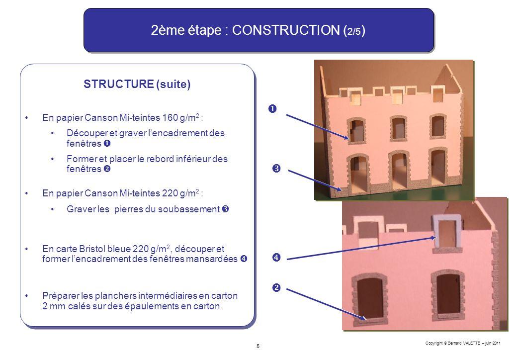 Copyright Bernard VALETTE – juin 2011 5 2ème étape : CONSTRUCTION ( 2/5 ) STRUCTURE (suite) En papier Canson Mi-teintes 160 g/m 2 : Découper et graver