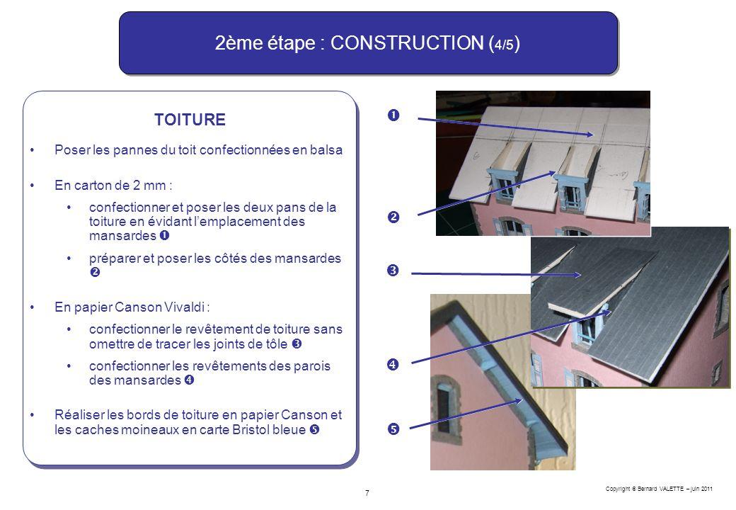 Copyright Bernard VALETTE – juin 2011 7 2ème étape : CONSTRUCTION ( 4/5 ) TOITURE Poser les pannes du toit confectionnées en balsa En carton de 2 mm :