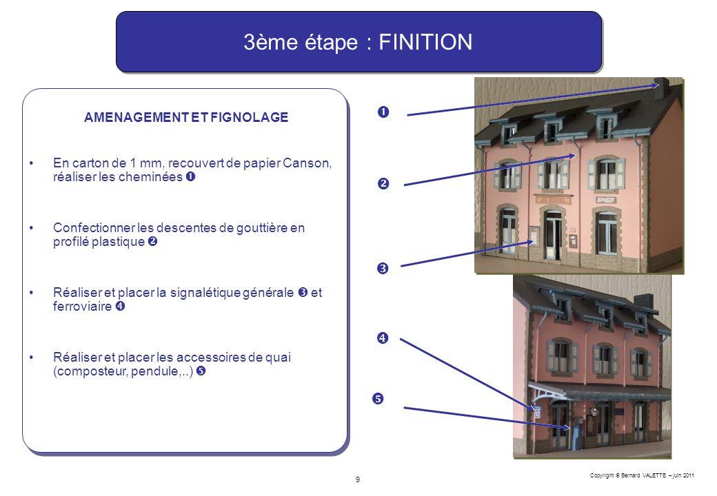 Copyright Bernard VALETTE – juin 2011 9 AMENAGEMENT ET FIGNOLAGE En carton de 1 mm, recouvert de papier Canson, réaliser les cheminées Confectionner l