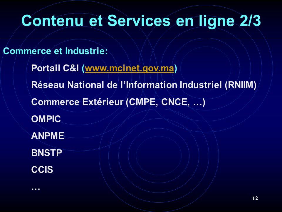 12 Contenu et Services en ligne 2/3 Commerce et Industrie: Portail C&I (www.mcinet.gov.ma)www.mcinet.gov.ma Réseau National de lInformation Industriel