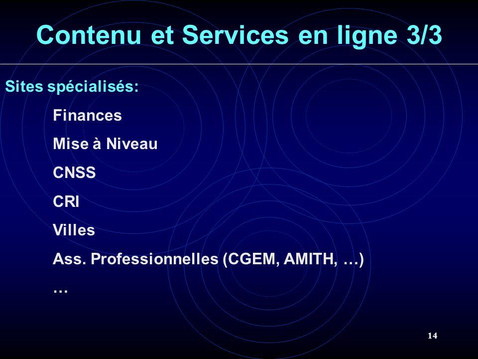 14 Contenu et Services en ligne 3/3 Sites spécialisés: Finances Mise à Niveau CNSS CRI Villes Ass. Professionnelles (CGEM, AMITH, …) …