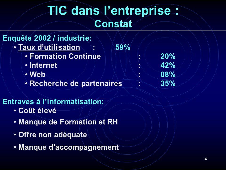 4 TIC dans lentreprise : Constat Enquête 2002 / industrie: Taux dutilisation: 59% Formation Continue:20% Internet:42% Web:08% Recherche de partenaires