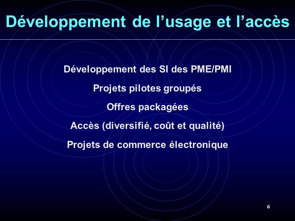 6 Développement de lusage et laccès Développement des SI des PME/PMI Projets pilotes groupés Offres packagées Accès (diversifié, coût et qualité) Proj