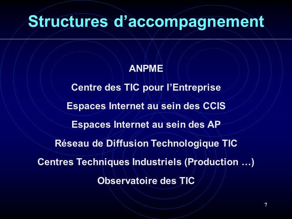 7 Structures daccompagnement ANPME Centre des TIC pour lEntreprise Espaces Internet au sein des CCIS Espaces Internet au sein des AP Réseau de Diffusi