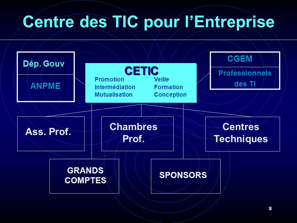 8 GRANDS COMPTES CETIC SPONSORS PromotionVeille IntermédiationFormation MutualisationConception Professionnels des TI CGEM Dép. Gouv Ass. Prof. Chambr