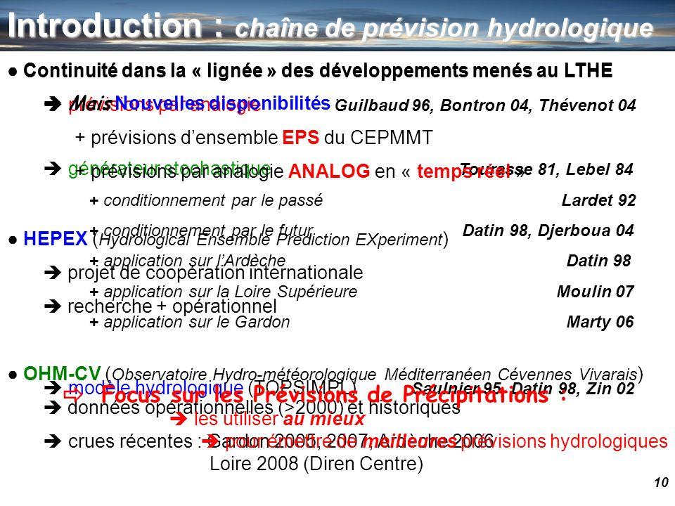 10 Introduction : chaîne de prévision hydrologique Continuité dans la « lignée » des développements menés au LTHE prévisions par analogie Guilbaud 96,