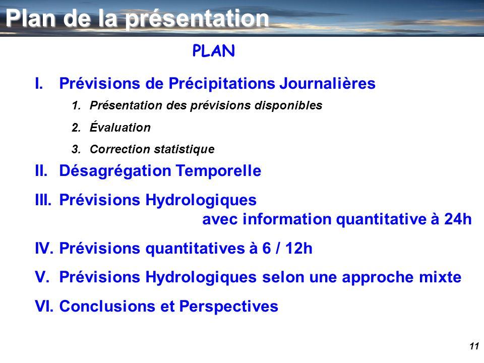 11 Plan de la présentation I.Prévisions de Précipitations Journalières II.Désagrégation Temporelle III.Prévisions Hydrologiques avec information quant