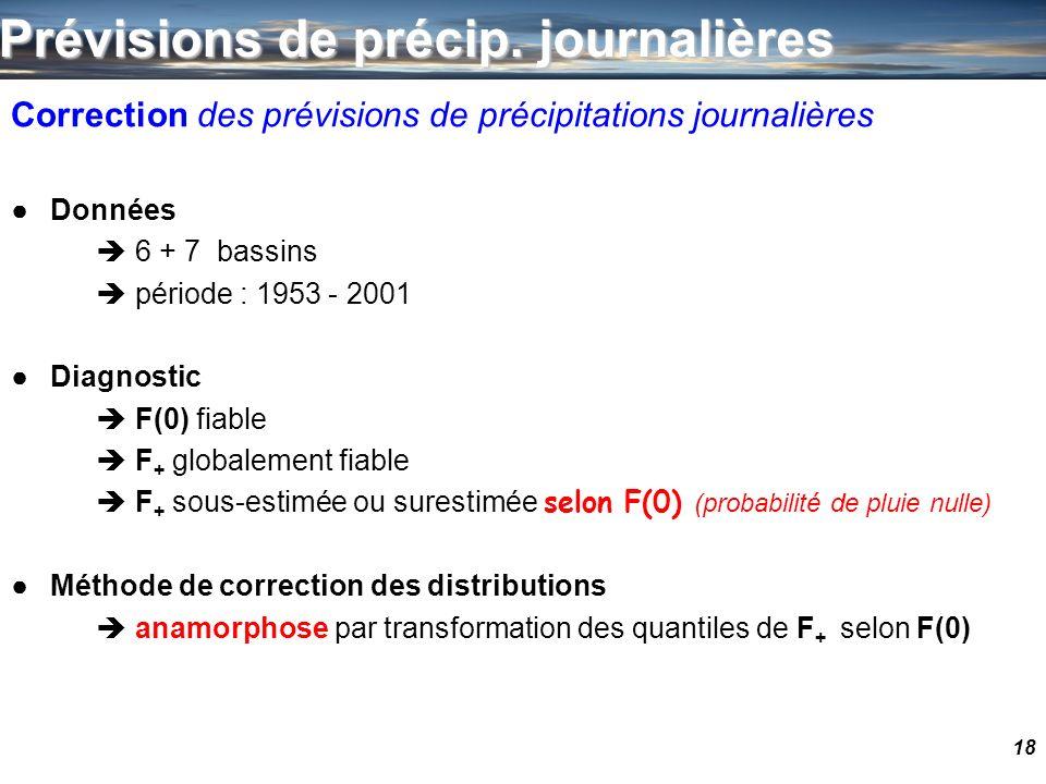 18 Correction des prévisions de précipitations journalières Données 6 + 7 bassins période : 1953 - 2001 Diagnostic F(0) fiable F + globalement fiable