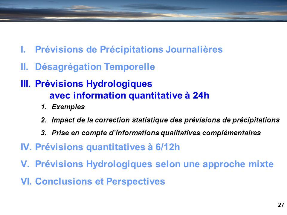 27 I.Prévisions de Précipitations Journalières II.Désagrégation Temporelle III.Prévisions Hydrologiques avec information quantitative à 24h IV.Prévisi