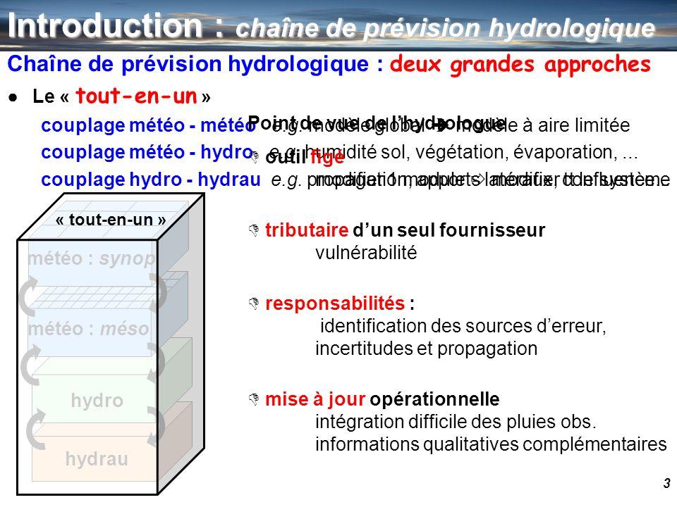 3 Introduction : chaîne de prévision hydrologique Chaîne de prévision hydrologique : deux grandes approches Le « tout-en-un » couplage météo - météo e