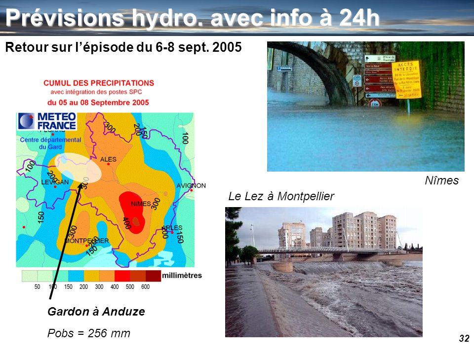 32 Prévisions hydro. avec info à 24h Retour sur lépisode du 6-8 sept. 2005 Nîmes Le Lez à Montpellier Gardon à Anduze Pobs = 256 mm