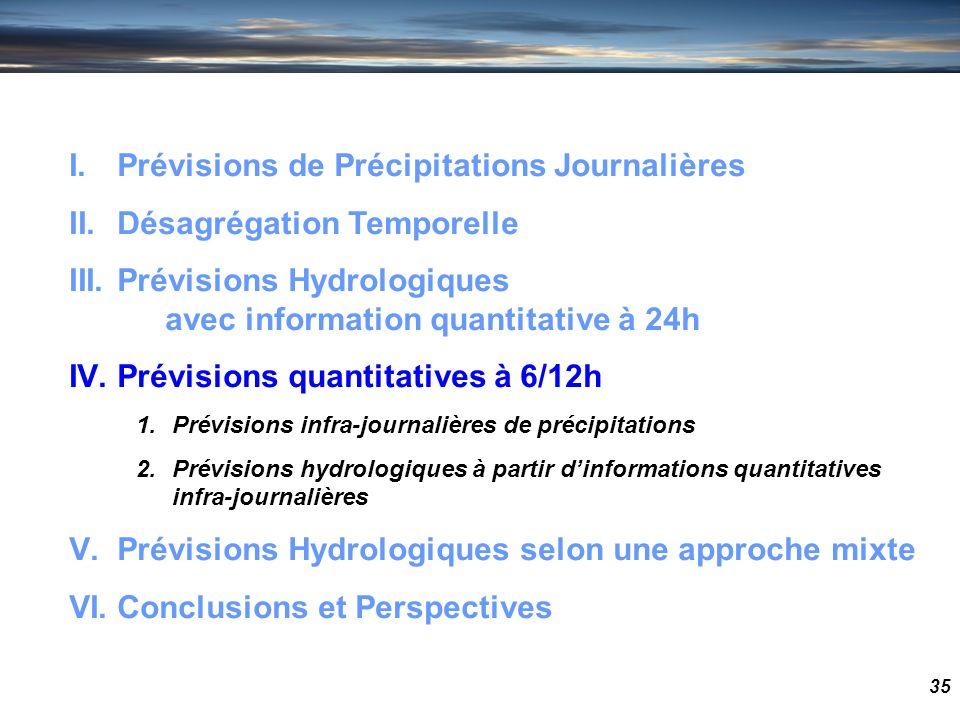 35 I.Prévisions de Précipitations Journalières II.Désagrégation Temporelle III.Prévisions Hydrologiques avec information quantitative à 24h IV.Prévisi