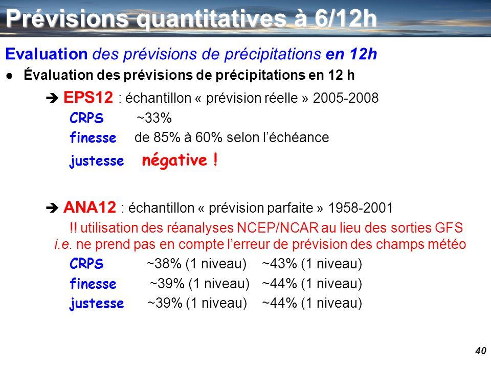 40 Prévisions quantitatives à 6/12h Evaluation des prévisions de précipitations en 12h Évaluation des prévisions de précipitations en 12 h EPS12 : éch
