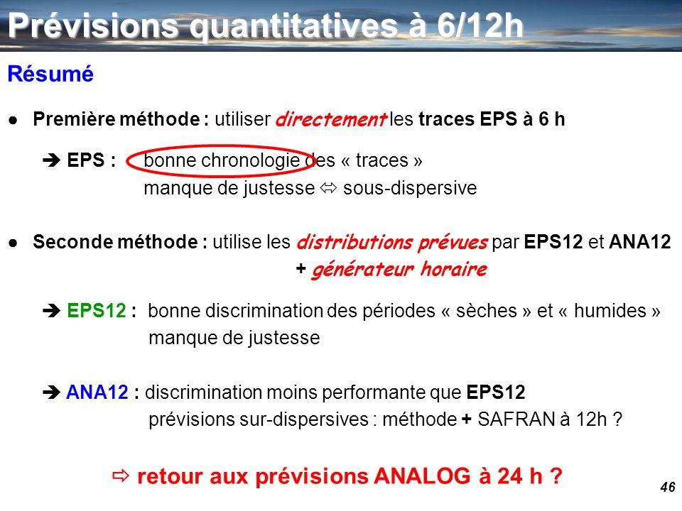 46 Résumé Première méthode : utiliser directement les traces EPS à 6 h EPS :bonne chronologie des « traces » manque de justesse sous-dispersive Second