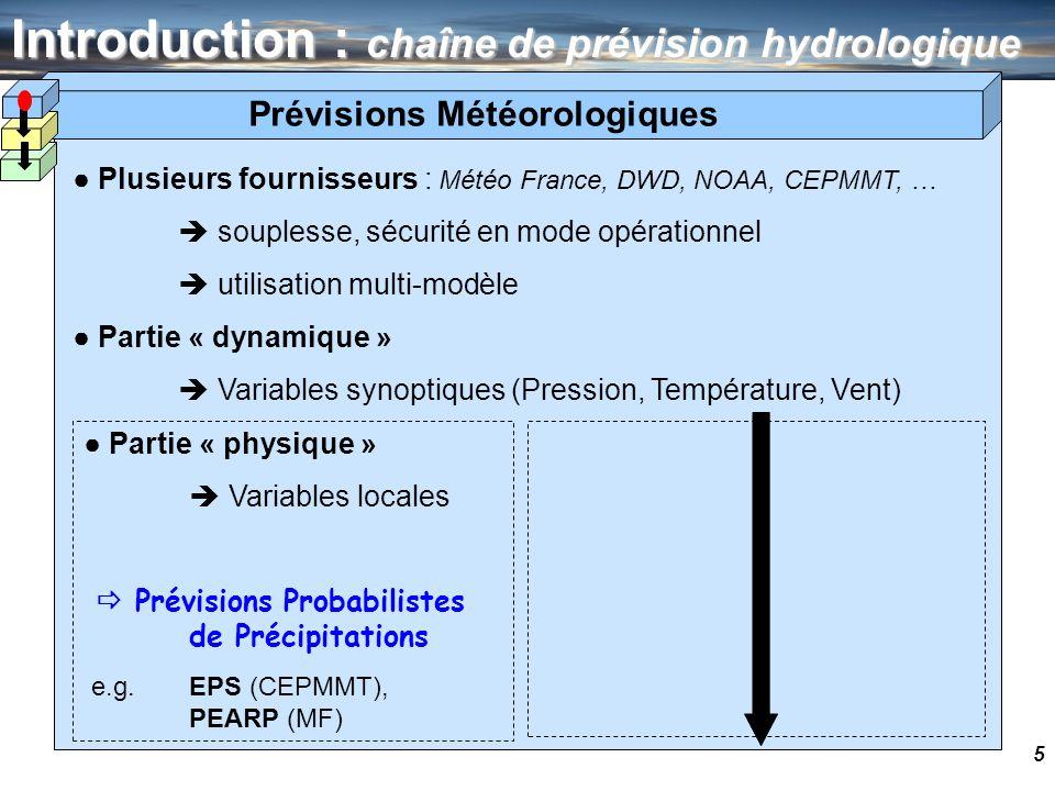 5 Introduction : chaîne de prévision hydrologique Plusieurs fournisseurs : Météo France, DWD, NOAA, CEPMMT, … souplesse, sécurité en mode opérationnel