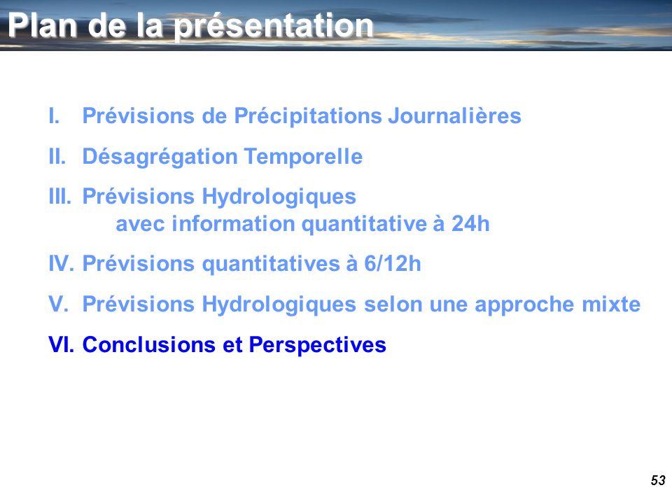 53 Plan de la présentation I.Prévisions de Précipitations Journalières II.Désagrégation Temporelle III.Prévisions Hydrologiques avec information quant