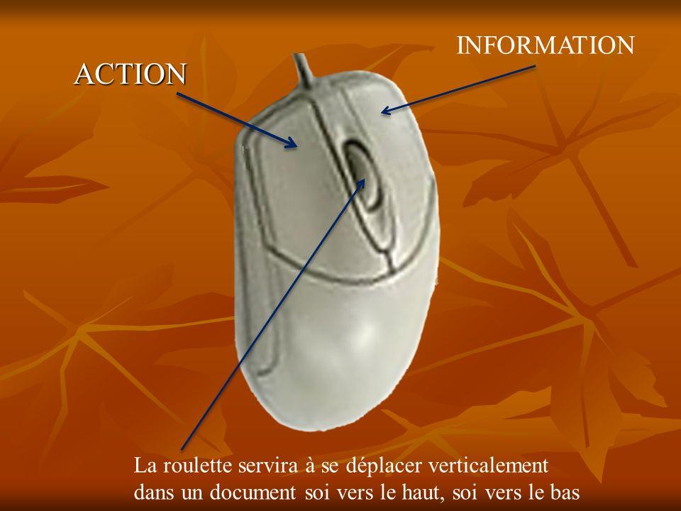 ACTION INFORMATION La roulette servira à se déplacer verticalement dans un document soi vers le haut, soi vers le bas