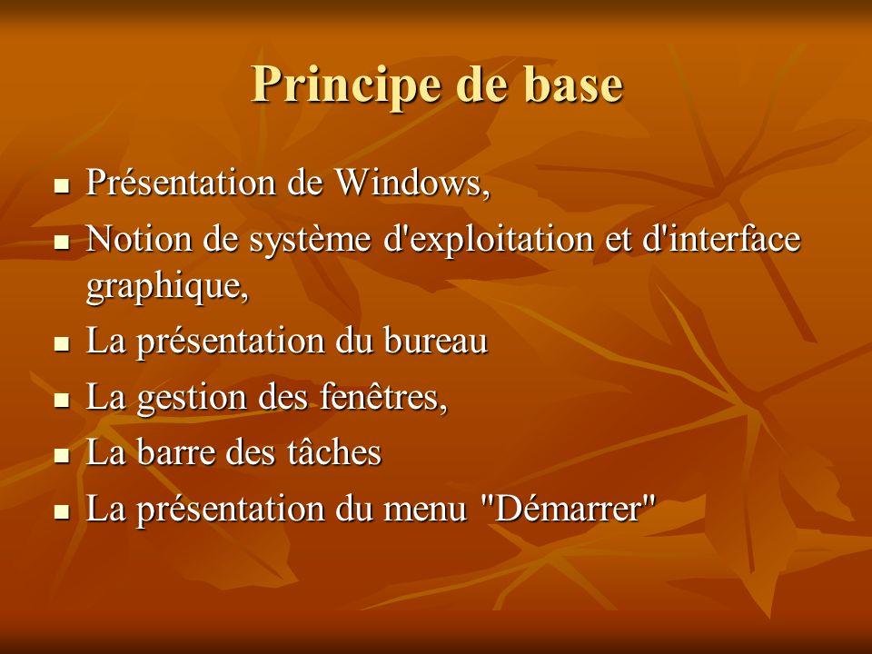 Principe de base Présentation de Windows, Présentation de Windows, Notion de système d'exploitation et d'interface graphique, Notion de système d'expl