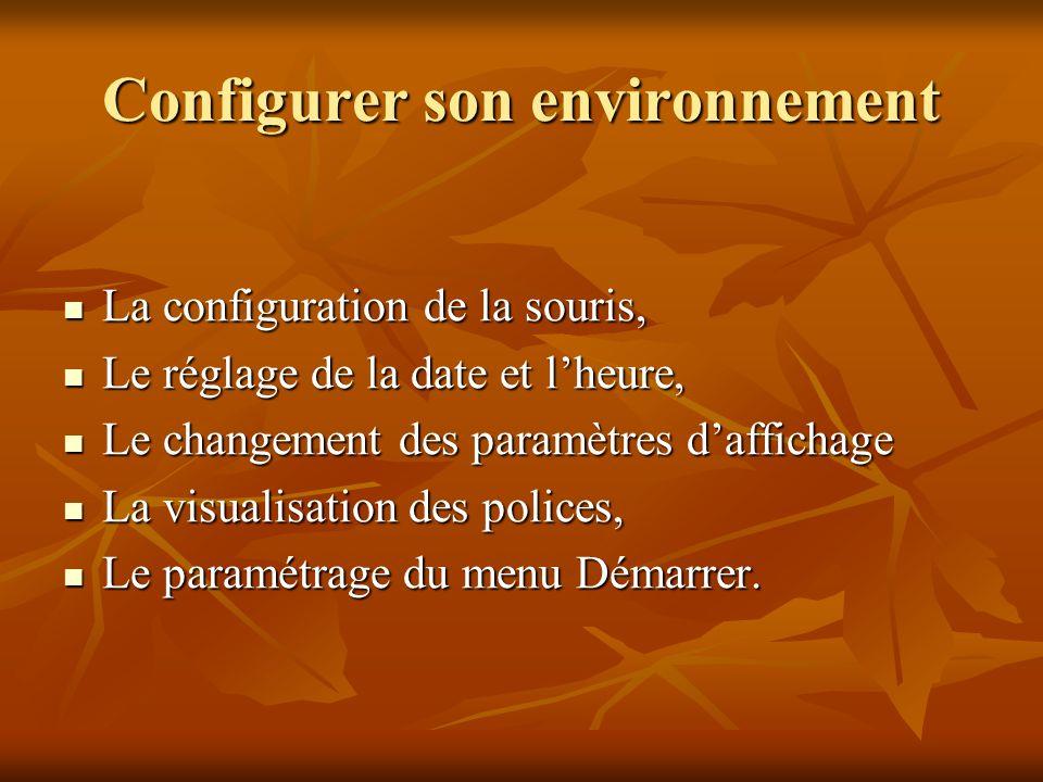 Configurer son environnement La configuration de la souris, La configuration de la souris, Le réglage de la date et lheure, Le réglage de la date et l