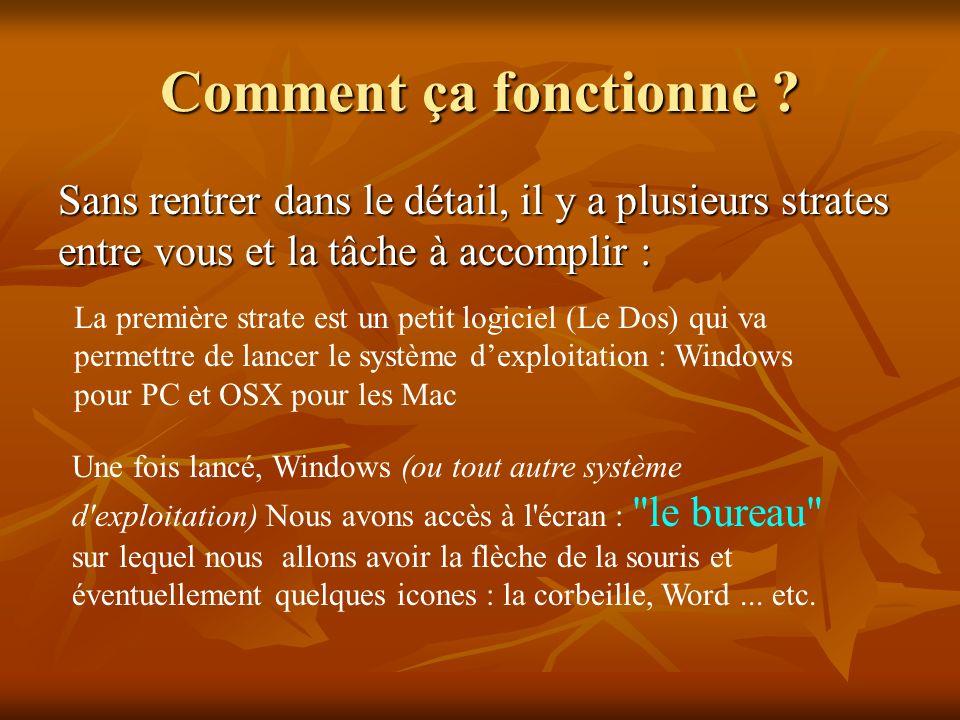 Windows : Fenêtres en anglais Chaque action avec un clic gauche de la souris va nous ouvrir une fenêtre, au sein de cette fenêtre nous pourrons : - Fabriquer - Classer - Trier - Jeter - Modifier - Configurer.....