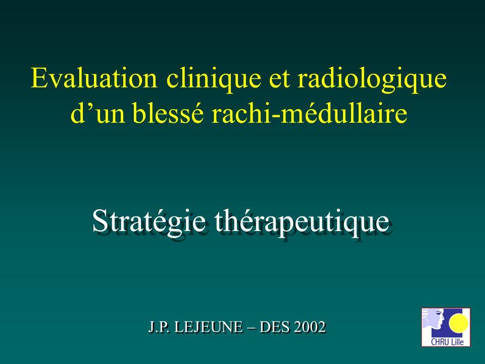 Evaluation clinique et radiologique dun blessé rachi-médullaire Stratégie thérapeutique J.P. LEJEUNE – DES 2002