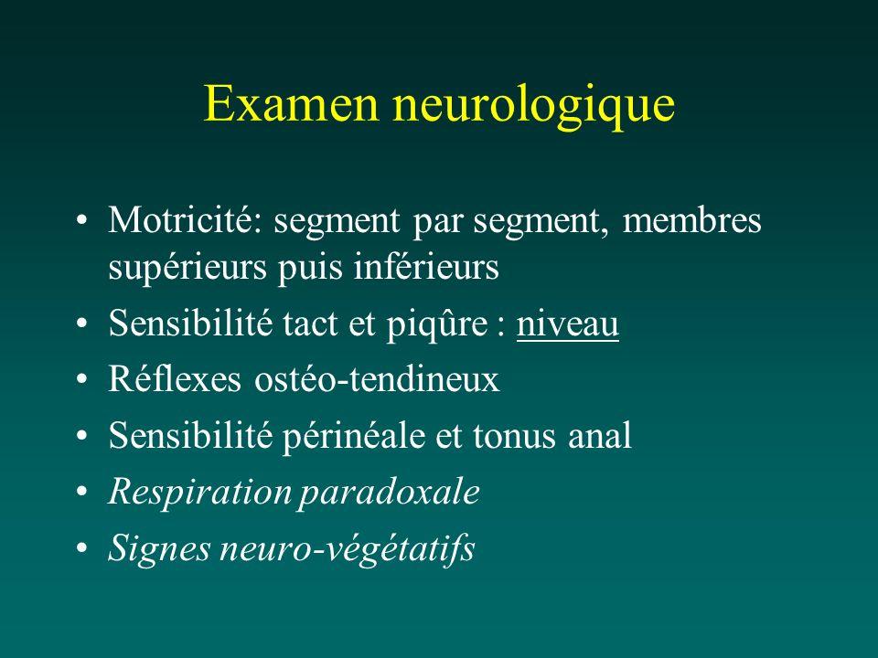 Examen neurologique Motricité: segment par segment, membres supérieurs puis inférieurs Sensibilité tact et piqûre : niveau Réflexes ostéo-tendineux Se