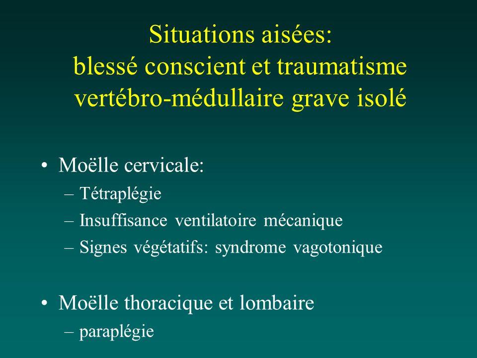 Situations aisées: blessé conscient et traumatisme vertébro-médullaire grave isolé Moëlle cervicale: –Tétraplégie –Insuffisance ventilatoire mécanique