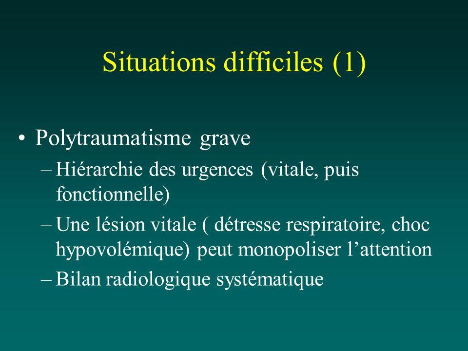 Situations difficiles (1) Polytraumatisme grave –Hiérarchie des urgences (vitale, puis fonctionnelle) –Une lésion vitale ( détresse respiratoire, choc