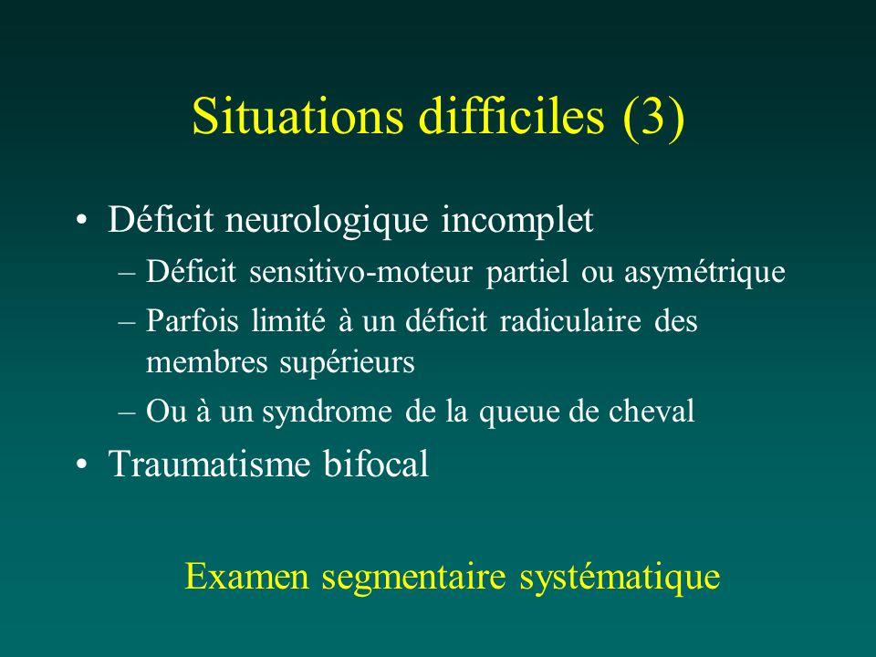 Situations difficiles (3) Déficit neurologique incomplet –Déficit sensitivo-moteur partiel ou asymétrique –Parfois limité à un déficit radiculaire des