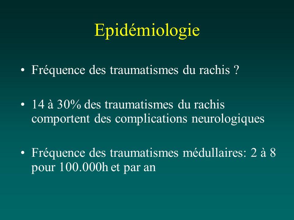 Epidémiologie Fréquence des traumatismes du rachis ? 14 à 30% des traumatismes du rachis comportent des complications neurologiques Fréquence des trau