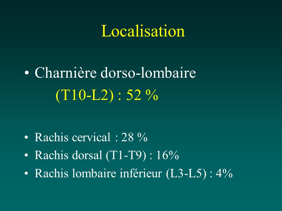 Localisation Charnière dorso-lombaire (T10-L2) : 52 % Rachis cervical : 28 % Rachis dorsal (T1-T9) : 16% Rachis lombaire inférieur (L3-L5) : 4%