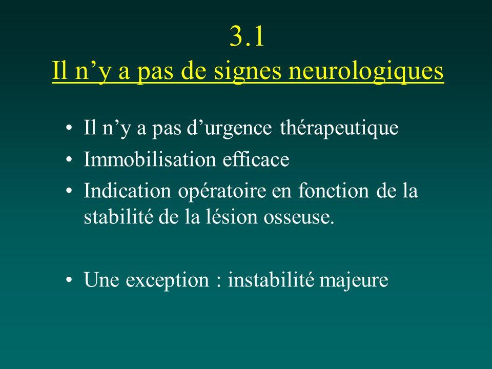 3.1 Il ny a pas de signes neurologiques Il ny a pas durgence thérapeutique Immobilisation efficace Indication opératoire en fonction de la stabilité d