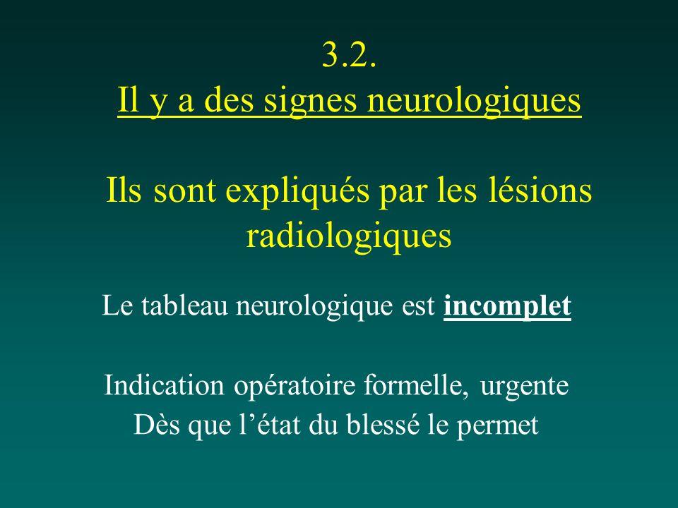 3.2. Il y a des signes neurologiques Ils sont expliqués par les lésions radiologiques Le tableau neurologique est incomplet Indication opératoire form