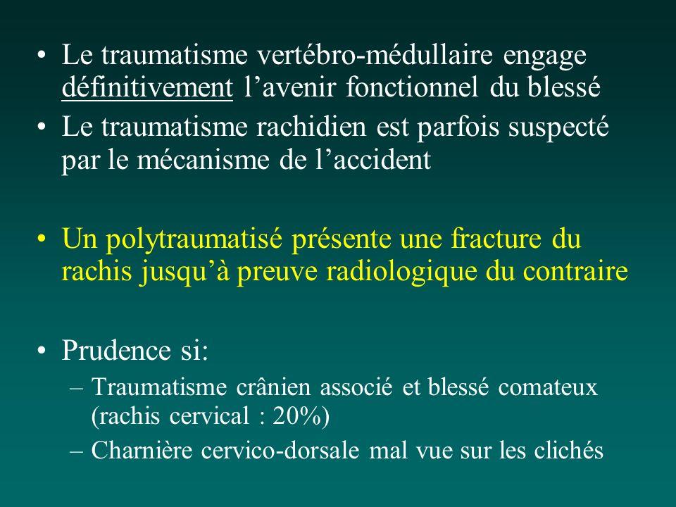 Le traumatisme vertébro-médullaire engage définitivement lavenir fonctionnel du blessé Le traumatisme rachidien est parfois suspecté par le mécanisme