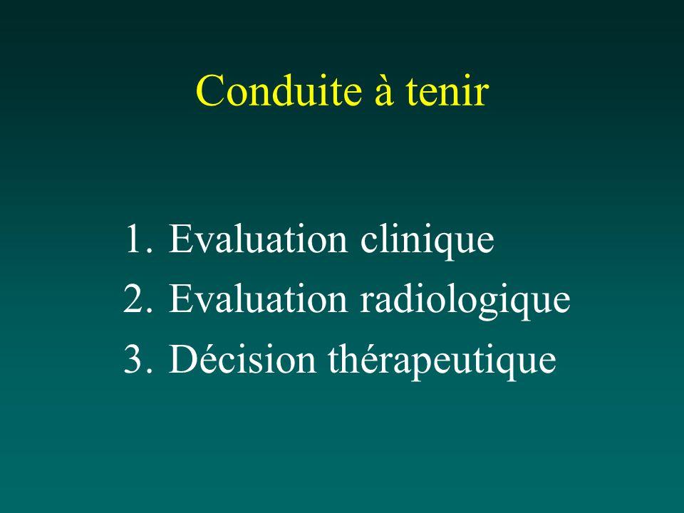 Conduite à tenir 1.Evaluation clinique 2.Evaluation radiologique 3.Décision thérapeutique