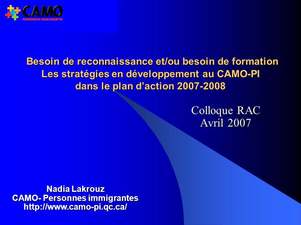 Colloque RAC Avril 2007 Nadia Lakrouz CAMO- Personnes immigrantes http://www.camo-pi.qc.ca/ Besoin de reconnaissance et/ou besoin de formation Les stratégies en développement au CAMO-PI dans le plan daction 2007-2008 Besoin de reconnaissance et/ou besoin de formation Les stratégies en développement au CAMO-PI dans le plan daction 2007-2008