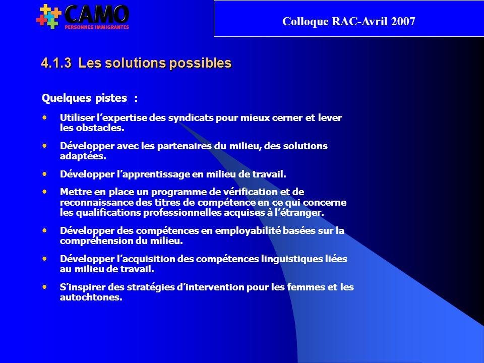 4.1.3 Les solutions possibles Quelques pistes : Utiliser lexpertise des syndicats pour mieux cerner et lever les obstacles.