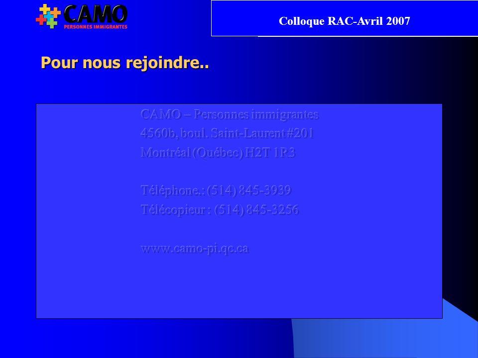 Pour nous rejoindre.. Colloque RAC-Avril 2007