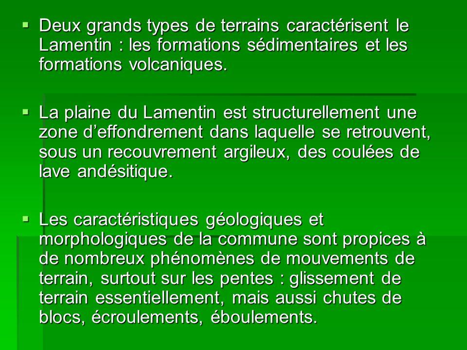 Deux grands types de terrains caractérisent le Lamentin : les formations sédimentaires et les formations volcaniques. Deux grands types de terrains ca