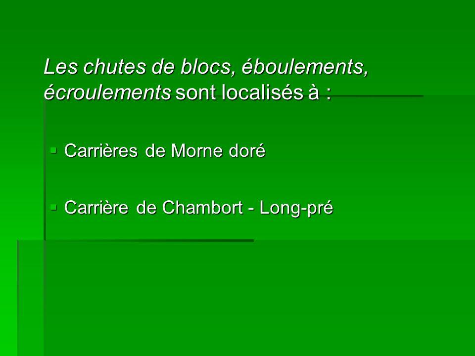 Les chutes de blocs, éboulements, écroulements sont localisés à : Carrières de Morne doré Carrières de Morne doré Carrière de Chambort - Long-pré Carr