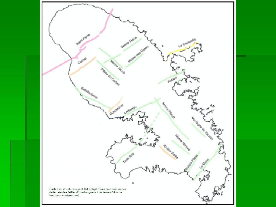 Carte des structures ayant fait lobjet dune reconnaissance de terrain (les failles dune longueur inférieure à 5 km de longueur sont exclues)