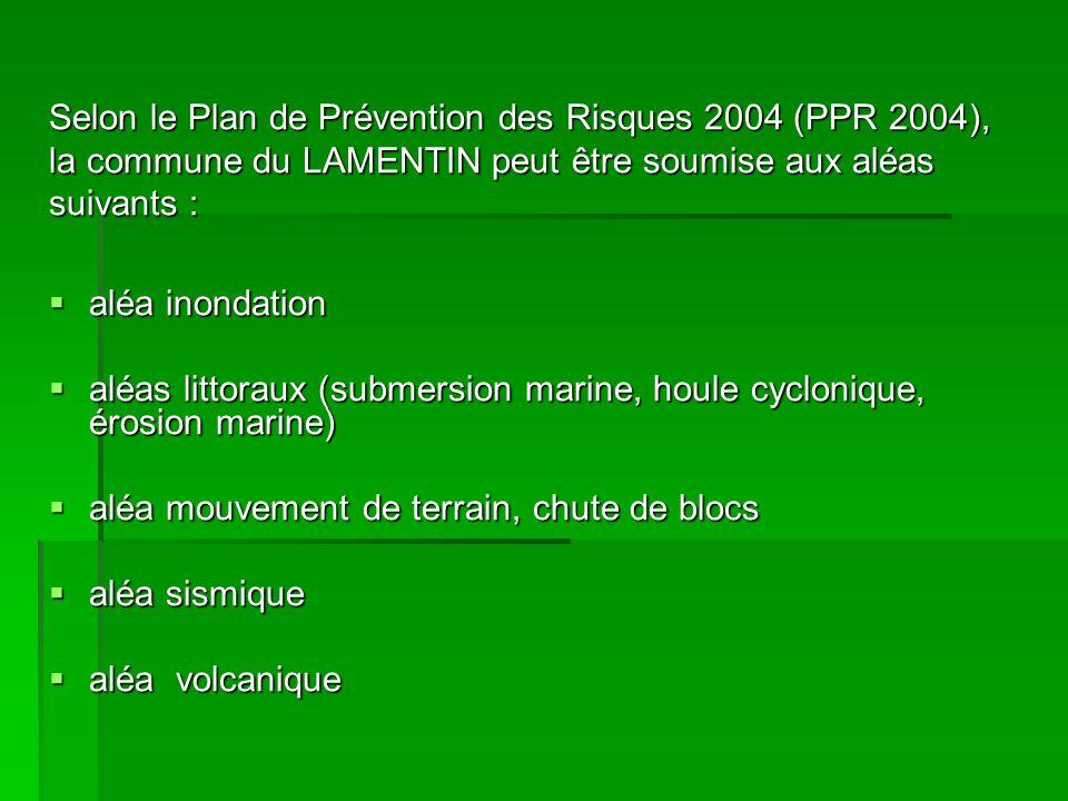 En plus des aléas cartographiés par le PPR 2004, le DICRIM 2002 de la ville du Lamentin (Document dInformation Communal sur les Risques Majeurs présenté en octobre 2002) prend en compte deux risques supplémentaires :
