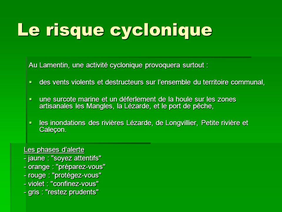Le risque cyclonique Au Lamentin, une activité cyclonique provoquera surtout : des vents violents et destructeurs sur lensemble du territoire communal